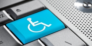 Picture of wheelchair symbol on a laptop keyboard